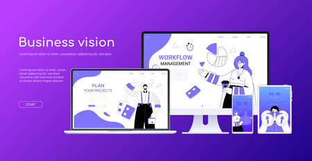 Business vision - flat design style colorful web banner on purple background with place for your text. A composition with a computer, laptop and smartphone, tablet. Scenes with a team on the screens 向量圖像