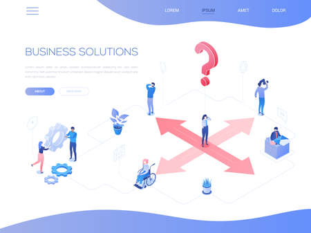 Business solutions - colorful isometric vector web banner with copy space for text. A composition with a businesswoman standing on crossroads, male, female colleagues working, a question mark, gears 向量圖像