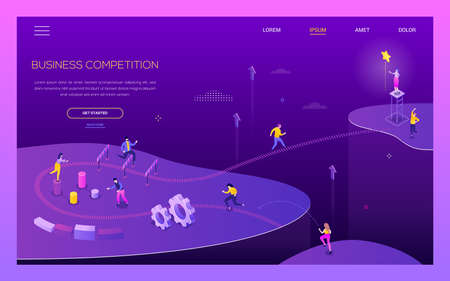 Business competition - modern isometric vector web banner on purple background with copy space for text. A website header with male, female characters jumping over obstacles, running. Challenge theme 向量圖像