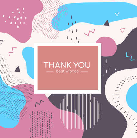 Thank you poster - modern vector abstract banner. High quality colorful card, gratitude letter, invitation template with textures, lines, dots and blurs, shapes. Blue, white, pink subtle colors