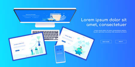 Creative workplace - modern vector colorful web banner on blue background. A composition with a top view of the computer, tablets, smartphone. Scenes with business team, workers on the screens