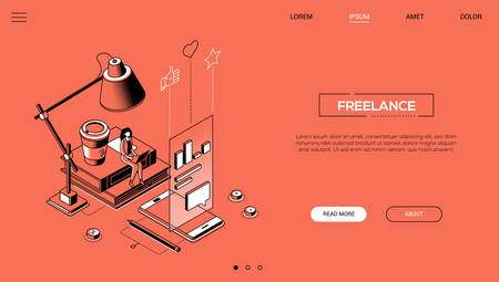 Freelance - line design style isometric web banner on orange background with copy space for text. A header with a woman working, studying at laptop. Images of smartphone, coffee cup, books, diagrams 向量圖像