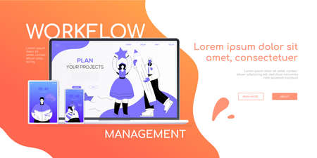 Workflow management - flat design style colorful web banner with place for your title and text. A composition with a laptop, smartphone, tablet. Scenes with male and female specialists on the screens