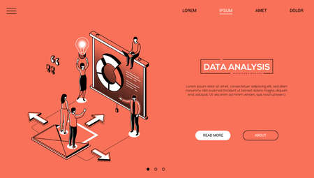 Data analysis - line design style isometric web banner