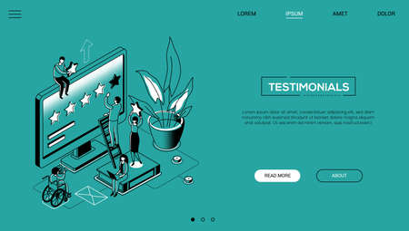 Testimonials - line design style isometric web banner on green background with copy space for text. Header with male, female workers making star rating on computer screen, books, plant. Feedback theme
