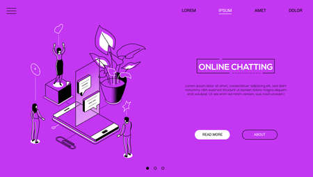 Online chatting - line design style isometric web banner on purple background with copy space for text. A header with male, female office workers, team, smartphone, dialog boxes, plant. SMM concept
