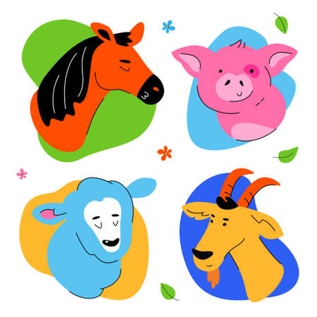 Cute farm animals portraits - set of flat design style characters isolated on white background. High quality bright collection with smiling faces of a horse, piglet, sheep, goat Illustration