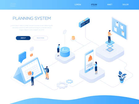Planning system - modern isometric vector web banner with copy space for text. Website header with a business team, colleagues working. Images of calendar, pin board, clock, notification on smartphone
