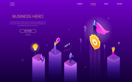 Business hero - modern isometric vector web banner