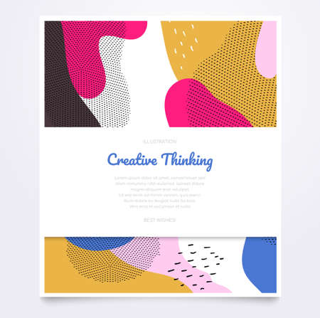 Bright brochure template - modern flat design style banner with place for your text. Quality yellow, pink, white document, certificate, poster with abstract background with textures, dots and blurs 向量圖像