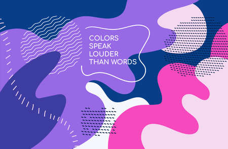 Bright colorful background - modern vector abstract composition in trendy retro style of 80s with place for your title. High quality unusual blue, pink, purple splashes of color with shapes, forms 일러스트