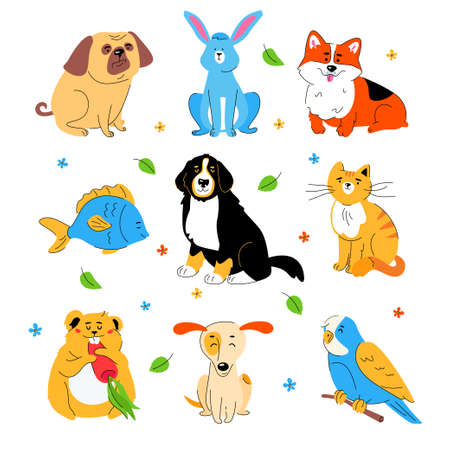 Cute pets - modern flat design style set of characters isolated on white background. Domestic animals, a cat, hamster, parrot, fish, rabbit. Bernese Mountain, Jack Russel Terrier, Welsh Corgi, pug dog
