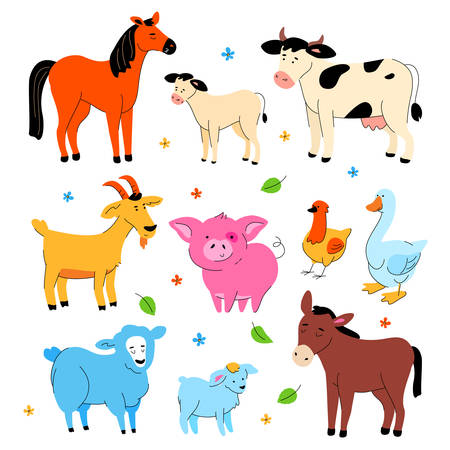 Cute farm animals - modern flat design style set of cartoon characters isolated on white background. A collection with a horse, donkey, cow with calf, goat, pig, hen and goose, sheep and lamb