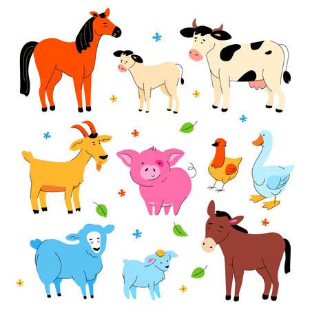 Simpatici animali da fattoria - set di stile moderno design piatto di personaggi dei cartoni animati isolati su priorità bassa bianca. Una collezione con cavallo, asino, mucca con vitello, capra, maiale, gallina e oca, pecora e agnello