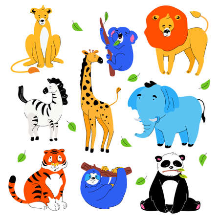 Cute exotic animals - set of flat design style cartoon characters isolated on white background. A bright collection with lions, koala chewing a leaf, panda, tiger, giraffe, sloth, elephant, zebra