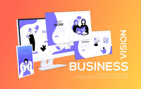 Business vision - flat design style colorful web banner on orange background with place for your text. A composition with a computer, website pages and smartphone. Scenes with a team on the screens 向量圖像