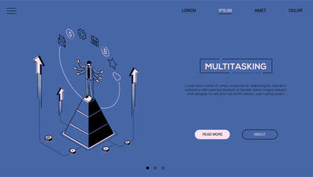 Multitasking concept - line design style isometric web banner on blue background with copy space for text. A header with businessman on a pyramid juggling with tasks, calendar, bitcoin, email, gear Illustration