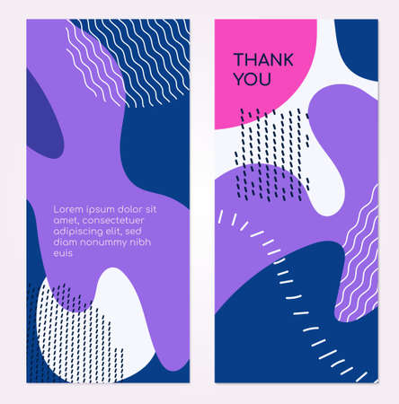 Colorful templates - set of modern abstract vertical banners with place for your text and title. High quality two blue, pink, purple, white posters with textures, dots and blurs in trendy retro style