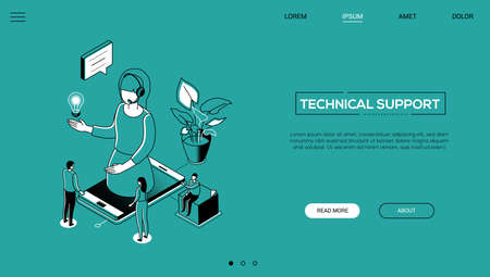 Technical support - line design style isometric web banner on green background with copy space for text. A female call center operator in headset on smartphone screen. Customer service concept 向量圖像