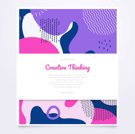 Purple brochure template - modern vector retro style banner with place for your text. High quality pink, white, violet document, certificate, poster on abstract background with textures, dots, blurs 向量圖像