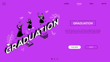Graduation concept - line design style isometric web banner on purple background with copy space for text. A website header with male, female students in academic caps and mantles celebrating