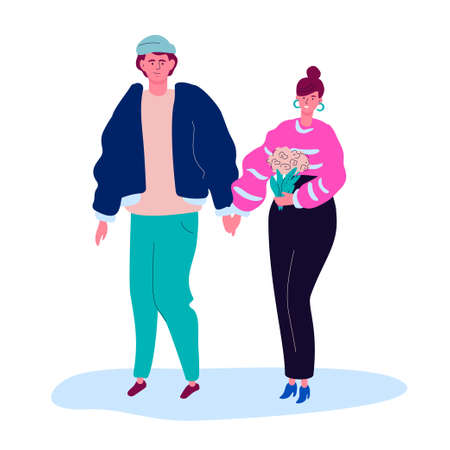 Couple on a date - modern colorful flat design style illustration on white background. Quality composition with a boy and a girl in casual clothes walking together, holding hands, a woman with flowers 向量圖像