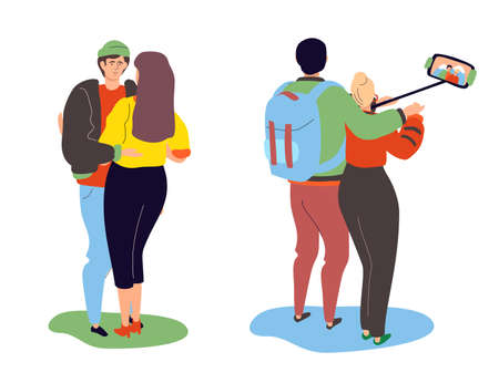 Happy couples - colorful flat design style characters on white background. Romantic scenes with a boy and a girl in casual clothes making selfie, hugging each other. Relationship, dating concept
