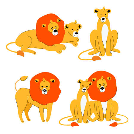 Cute lion and lioness - flat design style set of characters isolated on white background. A collection with a family of wild animals in different positions, sleeping, sitting together Archivio Fotografico - 128176171