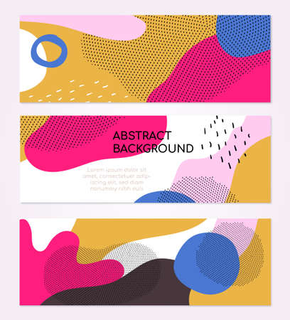 Colorful templates - set of modern abstract horizontal banners with place for your text. High quality pink, white, blue, yellow posters with textures, dots and blurs in trendy retro style Ilustracje wektorowe