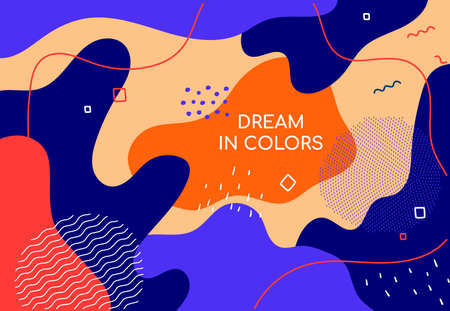 Dream in colors - modern flat design style abstract banner. High quality unusual colorful poster template with place for a title. Blue, orange card, gratitude letter, invitation with lines and blurs