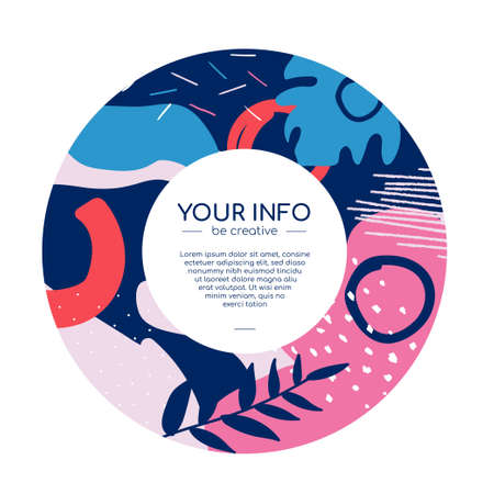 Colorful round flyer - modern vector abstract banner on white background with place for your title and text. Quality blue, pink, red invitation, announcement template with textures, shapes and blurs 일러스트