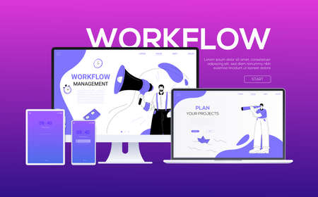 Workflow - flat design style colorful web banner on purple background with place for your text. A computer, laptop, smartphone, tablet. Scenes with a businessman on the screens. Workplace concept