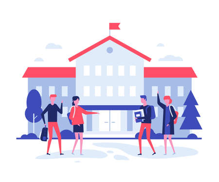 Back to school - flat design style illustration on white background. High quality composition with male, female students, teenagers with books and bags at the building before lessons. Education theme Stok Fotoğraf - 128505467