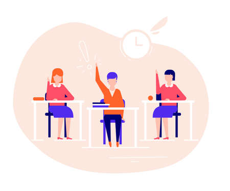 Students on the lesson - flat design style illustration. High quality composition with students, boys and girls sitting at their desks in the classroom, raising hands. Education, school concept