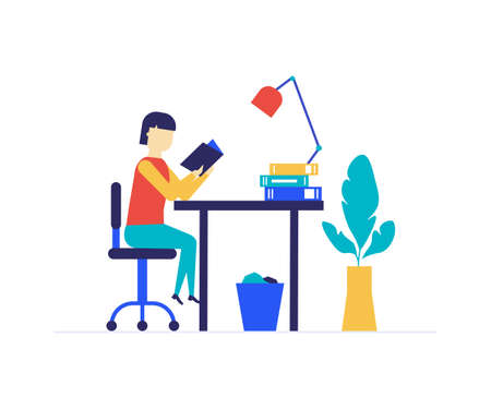 Girl studying - flat design style colorful llustration on white background. A composition with a student sitting at the desk, reading a book, doing homework, learning a lesson. Education, school theme