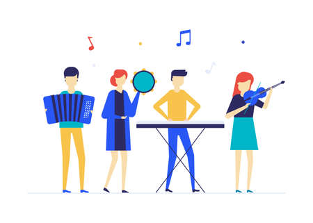 Children playing music - flat design style illustration on white background. A composition with students, boys and girls performing with musical instruments, accordion, violin, tambourine, synthesizer