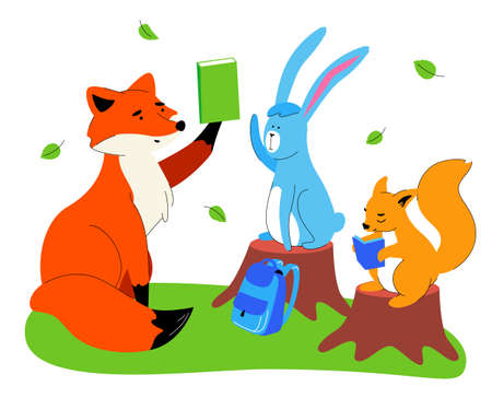 Animals at school - flat design style illustration on white background. A composition with a teacher fox, students squirrel and hare sitting on stumps, reading, raising hands on a lesson. Education