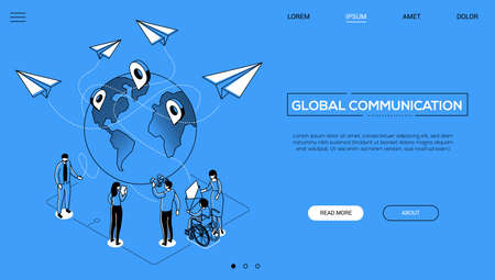 International business - line design style isometric web banner on blue background with copy space for text. A header with colleagues with different abilities around a globe. Global communication