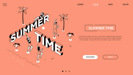 Summer time - line design style isometric web banner on orange background with copy space for text. A header with happy boys and girls playing volleyball on the beach, sunbathing. Vacation concept