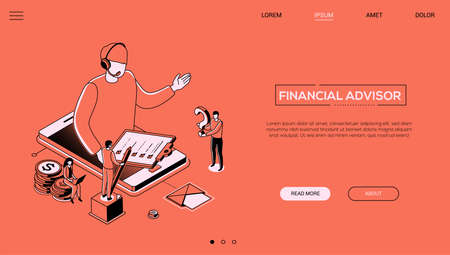 Financial advisor - line design style isometric web banner on orange background with copy space for text. A header with a male call center operator in headset on smartphone screen holding check list