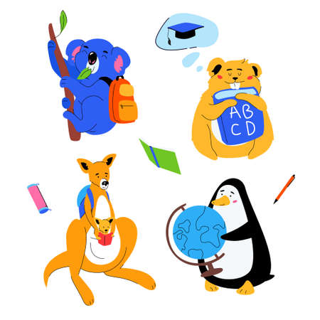 Animals students - flat design style set of cartoon characters isolated on white background. A penguin holding a globe, koala and kangaroo with backpacks, hamster with ABC book. Back to school concept