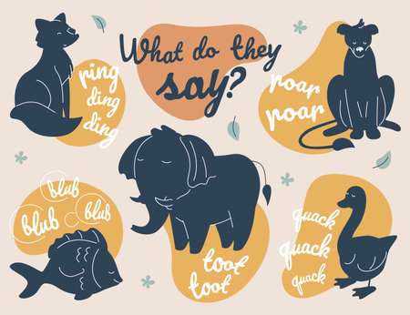 What do animals say - modern vector illustration. A collection with dark images of characters silhouettes with sounds they make. A fox, elephant, lioness, fish, goose shapes with inscription of noises