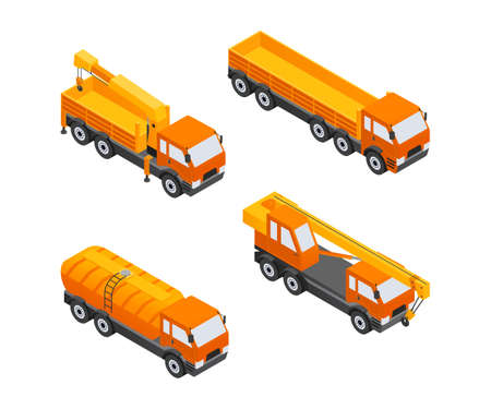 Construction Vehicles - modern vector isometric colorful elements. High quality objects, different types of cars, orange colored dump, truck, crane. Heavy machinery to build cities, streets, towns