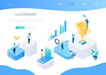 Leadership concept - colorful isometric vector web banner with copy space for text. A website header with male, female characters working, businessman standing on an award. Images of diagrams, loupe