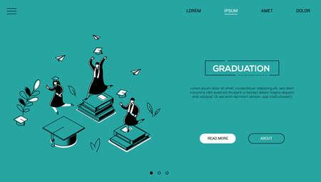 Concepto de graduación - banner web isométrico de estilo de diseño de línea sobre fondo verde con espacio de copia de texto. Un encabezado con estudiantes con gorras y mantos académicos celebrando, sosteniendo diplomas, saltando