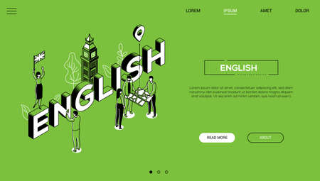 English language - line design style isometric web banner on green background with copy space for text. A header with Big Ben, cute characters with a map, flag of the UK. Education, travel concept Illustration