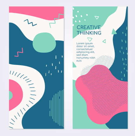 Colorful templates - set of modern abstract vertical banners with copy space for text. High quality blue, pink, turquoise, white posters with textures, dots, strokes and blurs in retro style