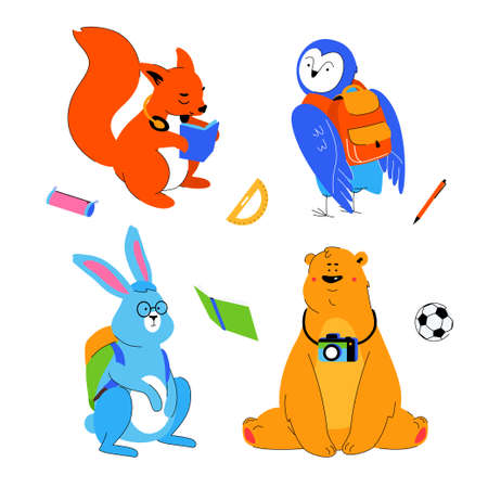 Animals students - flat design style set of cartoon characters isolated on white background. A squirrel reading a book, owl and rabbit with backpacks, brown bear with a camera. Back to school concept Ilustração