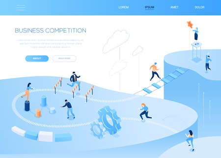 Business competition - modern isometric vector web banner on white background with copy space for text. A website header with male, female characters jumping over obstacles, running. Challenge concept