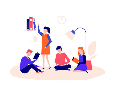 Children reading - flat design style colorful illustration on white background. High quality composition with students, boys and girls sitting with books, studying. Education, school concept